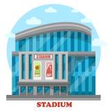 Byggnad för glasföremålsportstadion med affischer Royaltyfri Fotografi