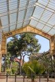 Byggnad för Glass tak i botaniska trädgården, Barcelona Royaltyfria Foton