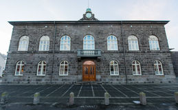 Byggnad för nationell parlament, Reykjavik, Island Royaltyfria Foton