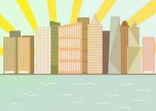 Byggnad för skyskrapa för strand för stadscityscapehorisont modern stock illustrationer