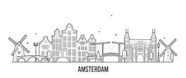 Byggnad för stad för vektor för Amsterdam horisont nederländsk royaltyfri illustrationer