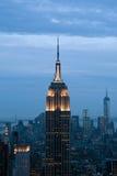 Byggnad för väldetillståndet och den Manhattan sikten från Rockefeller centrerar, New York, USA Arkivbild