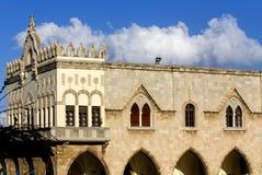 byggnad greece medeltida gammala rhodes Arkivbild