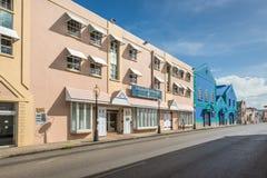 Byggnad i den historiska delen av Bridgetown, Barbados Arkivfoton