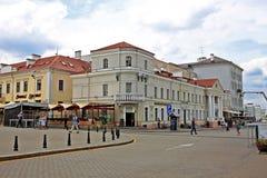 Byggnad i mitten av Minsk, Vitryssland arkivfoton