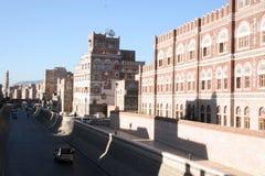 Byggnad i Sanaa, Yemen Royaltyfria Bilder