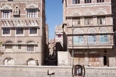 Byggnad i Sanaa, Yemen Arkivfoton