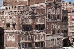Byggnad i Sanaa, Yemen Arkivbild
