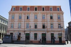 byggnad i stadens centrum historiska valparaiso Arkivbild