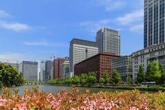 Byggnad i Tokyo från parkerar sikt i solig dag Arkivbilder