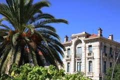 Byggnad i trevliga Frankrike bak palmträdet Arkivfoton