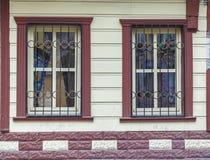 1850 1890 byggnad konstruerade facadefönster Royaltyfri Bild