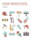 Byggnad, konstruktion och hem- reparationshjälpmedelsymboler vektor illustrationer