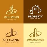 Byggnad Logo Template Design Vector Stock Illustrationer