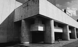 Byggnad och man Arkivfoto