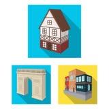 Byggnad och plana symboler för arkitektur i uppsättningsamlingen för design Det isometriska symbolet för byggnads- och boningvekt Royaltyfria Bilder