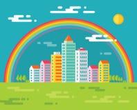 Byggnad och regnbåge i staden - vektorbegreppsillustration i plan designstil för presentation, häfte, webbplats och olikt vektor illustrationer