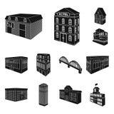 Byggnad och svarta symboler för arkitektur i uppsättningsamlingen för design Det isometriska symbolet för byggnads- och boningvek Arkivbild