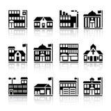 byggnad silhouettes tolv stock illustrationer