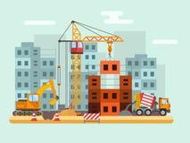Byggnad under konstruktion, arbetare och teknisk vektorillustration för konstruktion vektor illustrationer