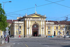 Byggnaden av den Belgrade järnvägsstationen, Serbien Arkivfoton