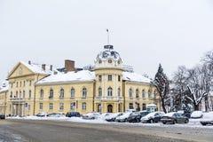 Byggnaden av den bulgariska akademin av vetenskaper i vintern royaltyfri foto