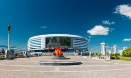 Byggnaden av den komplexa Minsk för sportar arenan in Royaltyfria Bilder