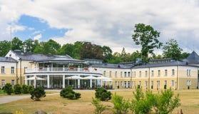 Byggnaden av hotellEuropa Royale Druskininkai, Litauen Fotografering för Bildbyråer