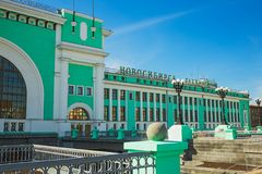 Byggnaden av järnvägsstationen Royaltyfria Foton
