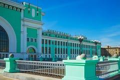 Byggnaden av järnvägsstationen Fotografering för Bildbyråer