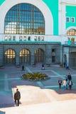 Byggnaden av järnvägsstationen Arkivbilder