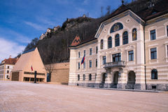 Byggnaden av från Liechtenstein parlament arkivbild