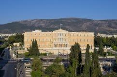 Byggnaden av parlamentet, i Aten, Grekland Royaltyfri Foto