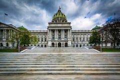 Byggnaden för Pennsylvania statKapitolium, i i stadens centrum Harrisburg, Fotografering för Bildbyråer