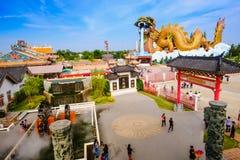 Byggnaden på den Kina staden i Dragon Museum är gränsmärket för thai kines Arkivbild