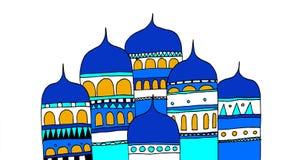 Byggnader av en forntida stad av den ryska välden vektor illustrationer