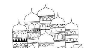 Byggnader av en forntida stad av den ryska välden stock illustrationer