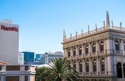 Byggnader av kasino, köpcentra och hotell av Las Vegas Dragningsremsagata las nevada vegas Royaltyfri Foto