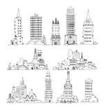 Byggnader av storstaden, uppsättning Skissa samlingen Arkivfoto