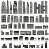 Byggnader - byggnadssymbolsuppsättning Arkivfoton