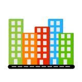 Byggnader för färger för Vecor siluet olika med fönster på vägen vektor illustrationer