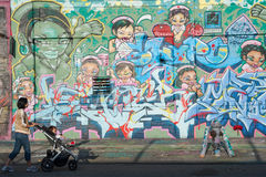 byggnader för grafitti 5Pointz i New York Royaltyfri Fotografi
