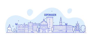 Byggnader för stad för KöpenhamnhorisontDanmark vektor royaltyfri illustrationer