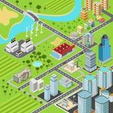 Byggnader för transport för gator för stadskvarter sänker den isometriska vektorn 3d Arkivbild