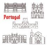 Byggnader för vektor för Portugal arkitekturgränsmärken stock illustrationer