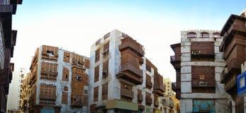 byggnader gammala historiska jeddah Arkivbild