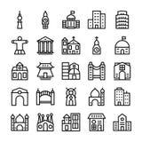 Byggnader gränsmärkelinje vektorsymboler 3 royaltyfri illustrationer