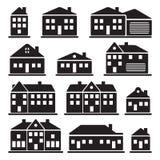 Byggnader - hussymbolsuppsättning Royaltyfria Bilder