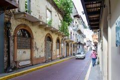 Byggnader i Casco Viejo, Panama Arkivfoton
