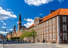 Byggnader i centret av Köpenhamnen arkivfoton